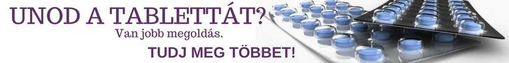 A képen a következő felirat található: Unod a tablettát? Van jobb megoldás. Tudj meg Többet! A szöveg mellett két levél gyógyszer látható