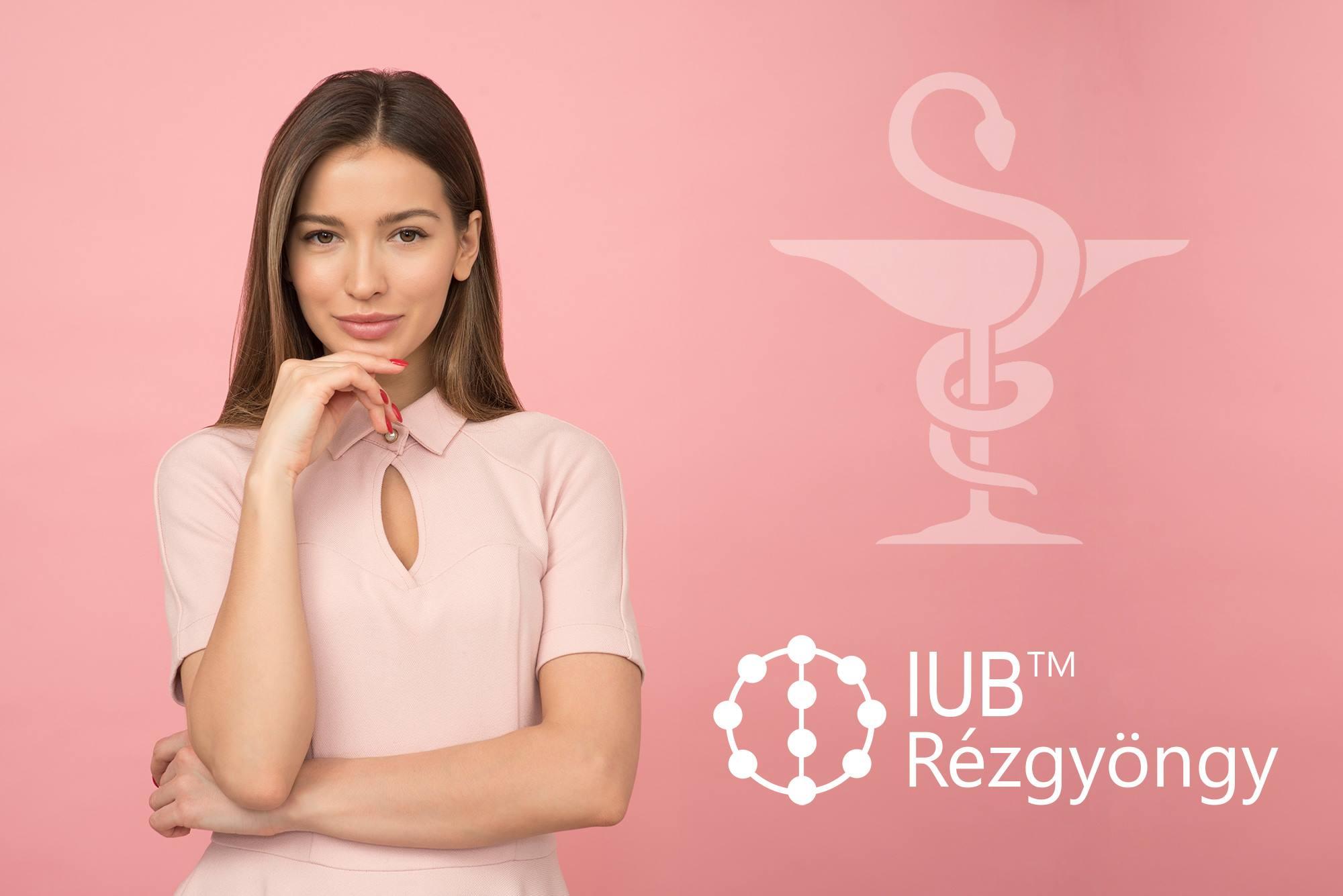 A képen az IUB™ Rézgyöngy kreatívja látható, mellyel bejelenti a patikákban való forgalmazást