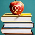Fiatalság. A képen a szexuális oktatásra utaló összeállítást láthatunk. 3 könyv tetején egy alma, amibe a női és férfi nem szimbóluma van vésve.